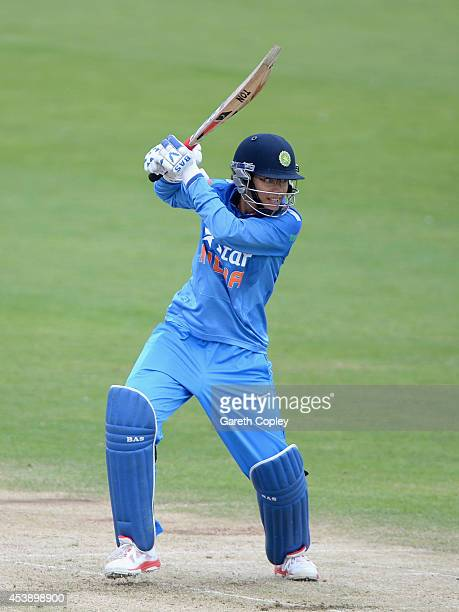 Mithali Raj of India bats during the 1st Royal London ODI between England and India at North Marine Road on August 21 2014 in Scarborough England