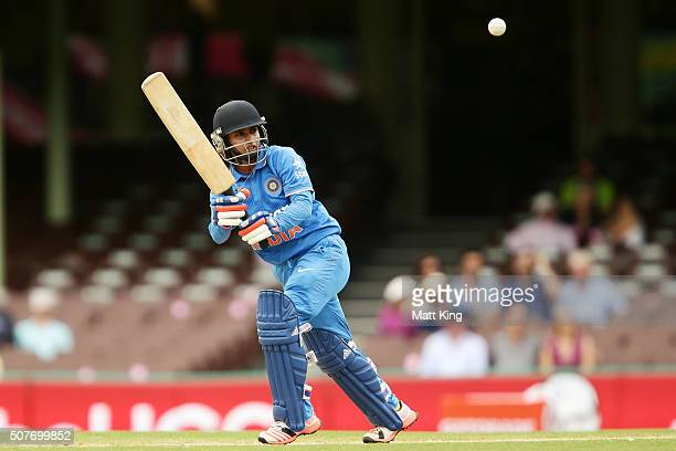 Mithali Raj of India bats during the International Twenty20 match between Australia and India at Sydney Cricket Ground on January 31 2016 in Sydney...