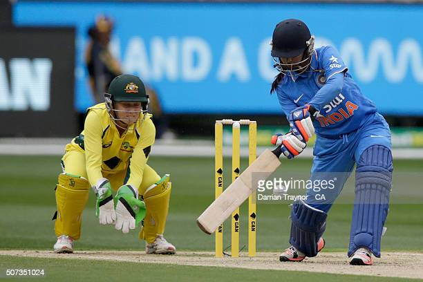 Mithali Raj of India bats during the women's Twenty20 International match between Australia and India at Melbourne Cricket Ground on January 29 2016...