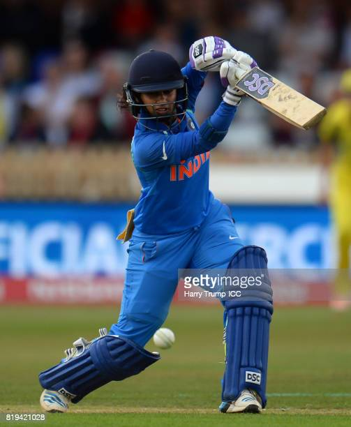 Mithali Raj of India batsduring the ICC Women's World Cup 2017 match between Australia and India at The 3aaa County Ground on July 20 2017 in Derby...