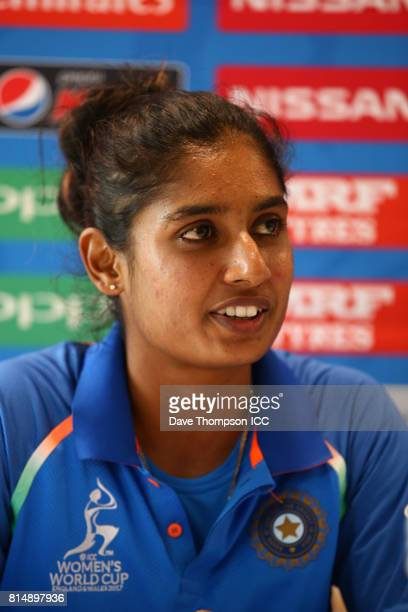 Mithali Raj of India during a press conference following the ICC Women's World Cup match between India and New Zealand at The 3aaa County Ground on...
