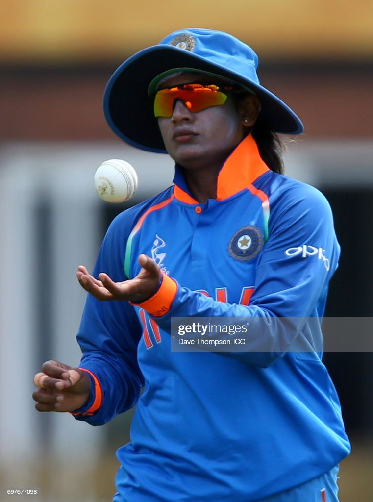 Mithali Raj of India during the ICC Women's World Cup warm up match between India and New Zealand at The County Ground on June 19, 2017 in Derby, England.