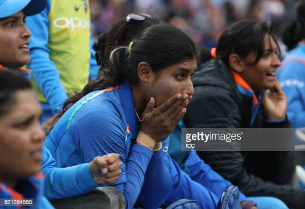 Mithali Raj of India looks tense as her team collapse during The ICC Women's World Cup 2017 Final between England and India at Lord's Cricket Ground...