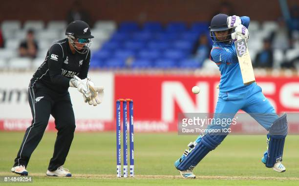 Mithali Raj of India plays a shot off in front of Rachel Priest of New Zealand during the ICC Women's World Cup match between India and New Zealand...