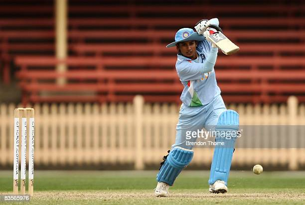 Mithali Raj of India plays a stroke during the third women's one day international match between the Australian Southern Stars and India at North...