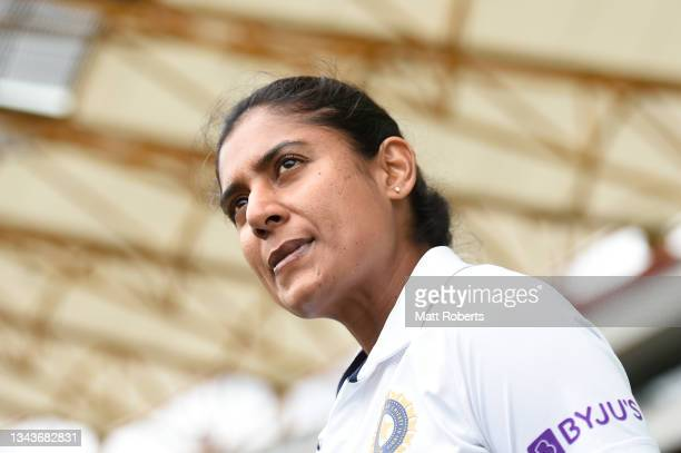 Mithali Raj of India speaks to media representatives during a media opportunity ahead of the Women's International Test match between Australia and...