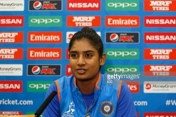 Mithali Raj of India takes part in a press conference before The Women's World Cup 2017 final between England and India at Lord's Cricket Ground on...