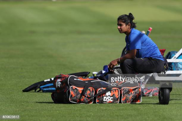 Mithali Raj of India takes part in a training session before The Women's World Cup 2017 final between England and India at Lord's Cricket Ground on...
