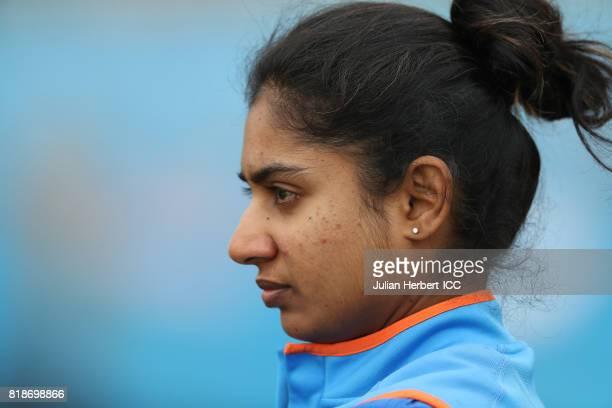 Mithali Raj of India takes part in a training session prior to The ICC Women's World Cup 2017 SemiFinal between Australia and India at The County...