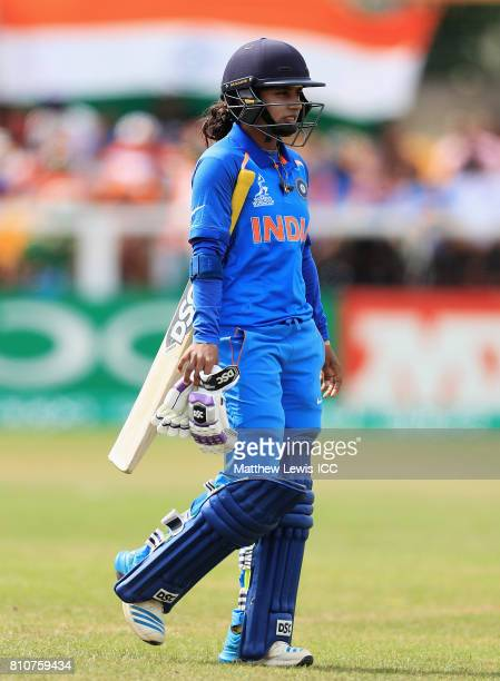 Mithali Raj of India walks off after being bowled by Dane van Niekerk of South Africa during the ICC Women's World Cup 2017 match between South...