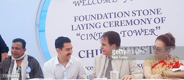 Mithun Chakraborty Aamir Khan Dilip Kumar and Saira Banu at the foundation stone laying ceremony of CINTAA Tower at Andheri in Mumbai