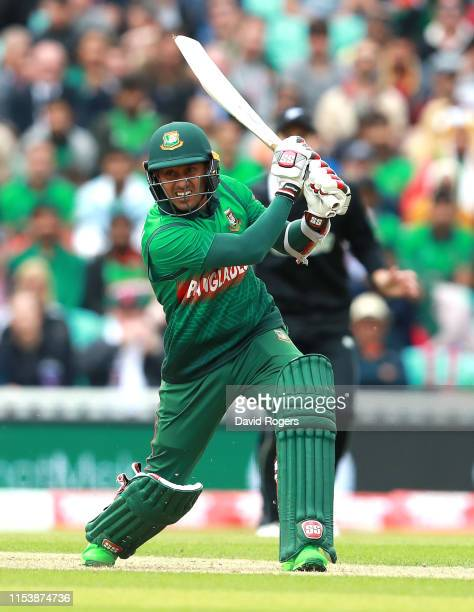 Mithun of Bangladesh drives the ball during the Group Stage match of the ICC Cricket World Cup 2019 between Bangladesh and New Zealand at The Oval on...
