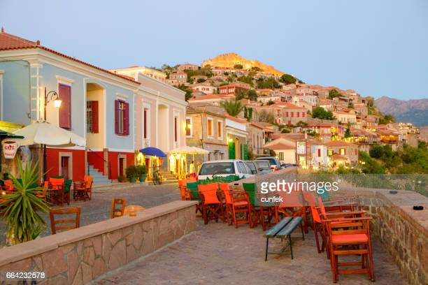 mithymna town at sunset - lesvos stock photos and pictures