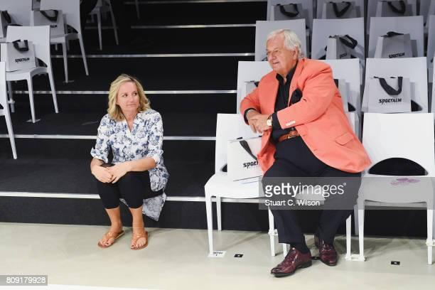 Mitinhaberin Ulli Ehrlich and Wilhelm Ehrlich are seen backstage ahead of the Sportalm Fashion Show Spring/Summer 2018 at Umspannwerk Kreuzberg on...