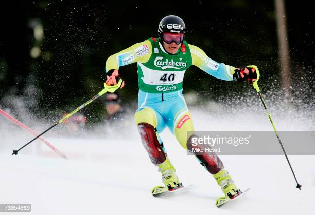 Mitja Dragsic of Slovenia competes during the Men's Slalom on day fifteen of the FIS World Ski Championships on February 17, 2007 in Are, Sweden.