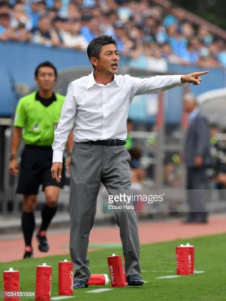 Mito HollyHock head coach Shigetoshi Hasebe gestures during the JLeague J2 match between Yokohama FC and Mito HollyHock at Nippatsu Mitsuzawa Stadium...