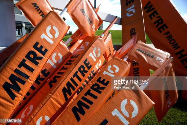 Mitre 10 signage before day 2 of the 2019 Jock Hobbs Tournament at Owen Delany Park on September 11, 2019 in Taupo, New Zealand.