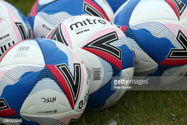 Mitre Delta Max match ball's are seen during a Training Session at PTS Academy Stadium on August 06, 2020 in Northampton, England.