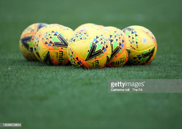 Mitre Delta Max yellow ball on the pitch ahead of the Barclays FA Women's Super League match between Chelsea Women and Aston Villa Women at...