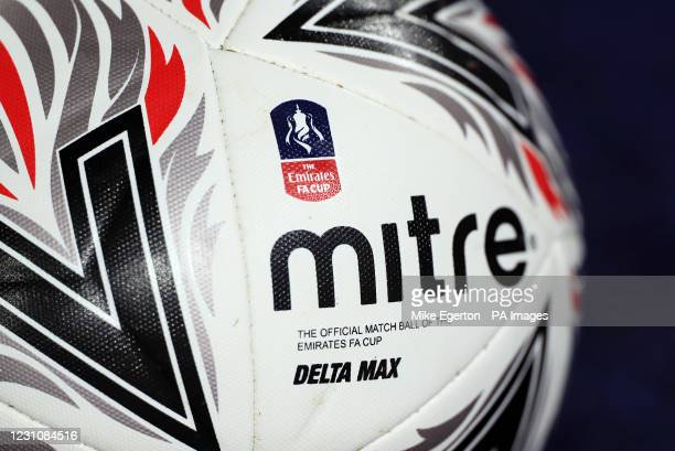 Mitre FA Cup Match Ball during the Emirates FA Cup fifth round match at the King Power Stadium, Leicester. Picture date: Wednesday February 10, 2021.