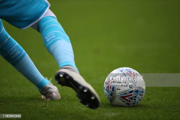 Mitre football with the EFL branding on it during the Sky Bet Championship match between Millwall and Leeds United at The Den on October 05, 2019 in...