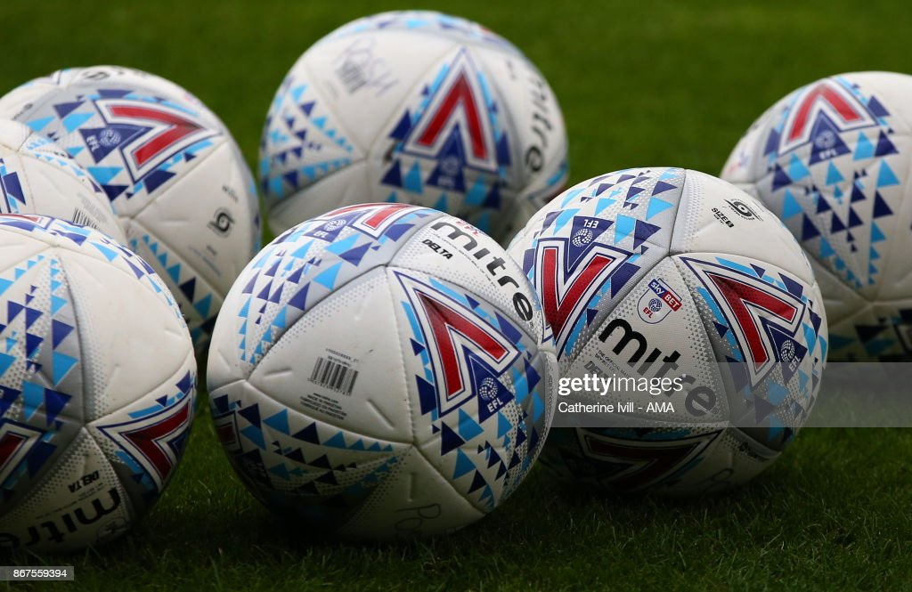 EFL Mitre footballs / balls during the Sky Bet League One match between Peterborough United and Shrewsbury Town at ABAX Stadium on October 28, 2017 in Peterborough, England.