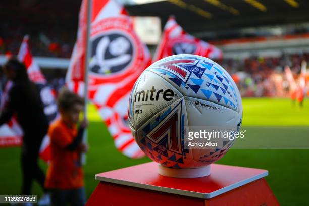 Mitre match ball during the Sky Bet Championship match between Sheffield United and Bristol City at Bramall Lane on March 30 2019 in Sheffield England