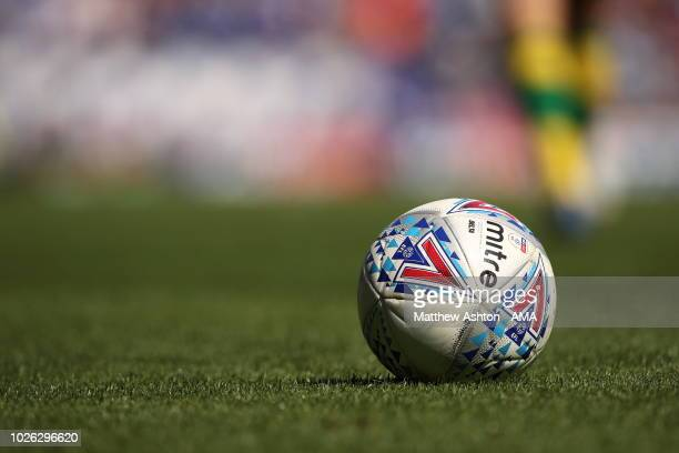Mitre match ball during the Sky Bet Championship match between Ipswich Town and Norwich City at Portman Road on September 2 2018 in Ipswich England