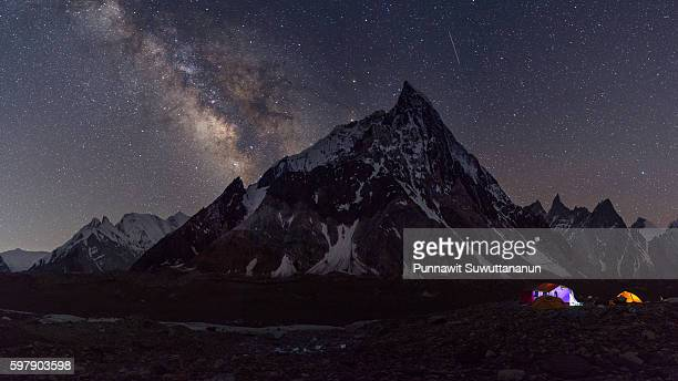 mitre peak with milky way, concordia camp - gilgit baltistan stock photos and pictures