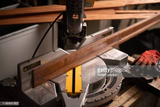 mitre saw cut board - mitre stock pictures, royalty-free photos & images