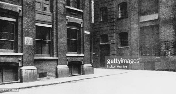 Mitre Square in the City of London with Church Passage in the right corner circa 1928 It was here that prostitute Catherine Eddowes was murdered by...