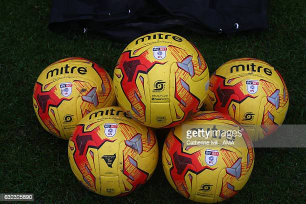 Mitre winter match ball / balls with the Sky Bet EFL logo during the Sky Bet League One match between Shrewsbury Town and Oldham Athletic at...