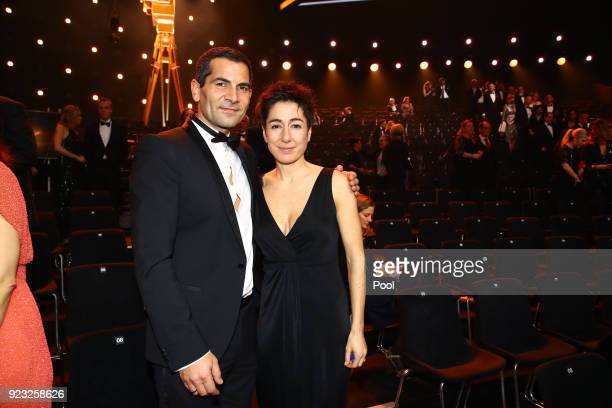 Mitri Sirin and Dunja Hayal appear on stage during the Goldene Kamera awards at Messehallen on February 22 2018 at the Messe Hamburg in Hamburg...
