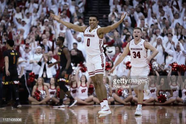 Mitrik Trice of the Wisconsin Badgers reacts in the second half against the Maryland Terrapins at the Kohl Center on February 01 2019 in Madison...