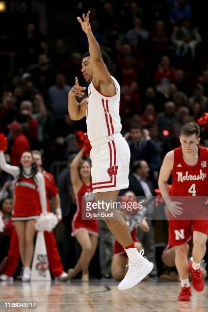 Mitrik Trice of the Wisconsin Badgers reacts in the second half against the Nebraska Huskers during the quarterfinals of the Big Ten Basketball...
