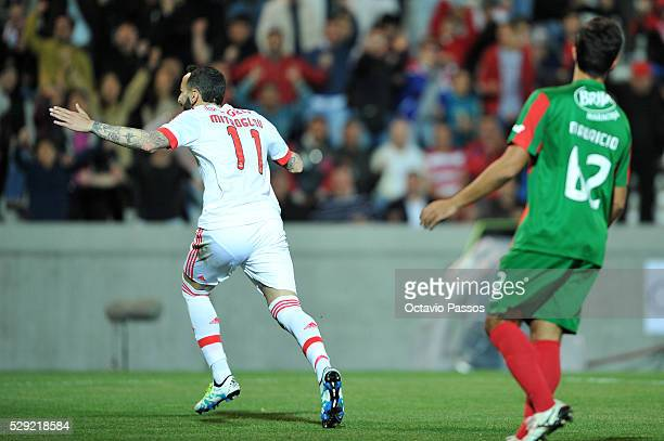 Mitroglou of SL Benfica celebrates after scoring a goal against CS Maritimo during the Portuguese Primeira Liga at Estadio dos Barreiros on May 8...