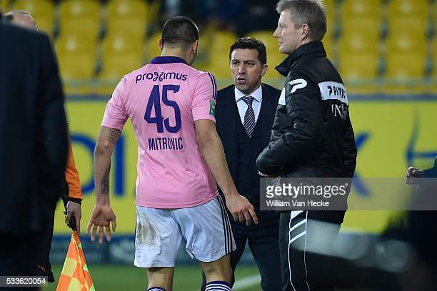 Mitrovic Aleksandar forward of Rsc Anderlecht Besnik Hasi head coach of Rsc Anderlecht during the Jupiler Pro League match between KSC Koninklijke...