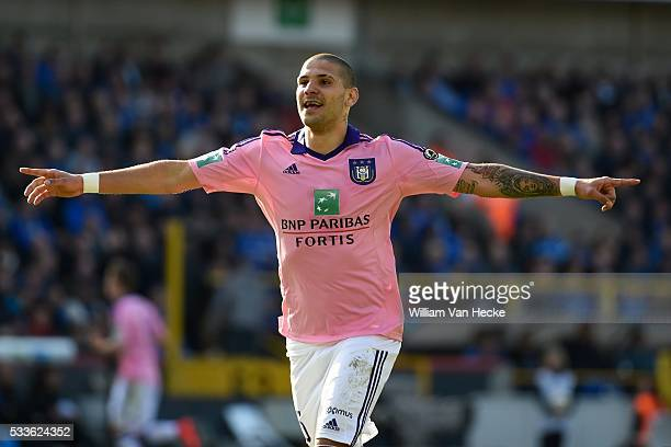 Mitrovic Aleksandar forward of Rsc Anderlecht scores the opening goal during the Jupiler Pro League play off 1 match between Club Brugge and RSC...