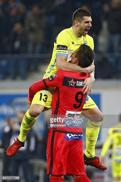 Mitrovic defender of KAA Gent and Lovre Kalinic goalkeeper of KAA Gent celebrates during the Jupiler Pro League match between KAA Gent and R...