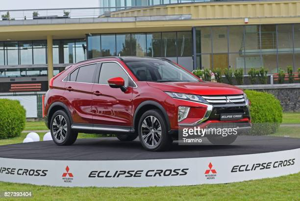 mitsubishi eclipse cross on the exhibition point - mitsubishi group stock pictures, royalty-free photos & images