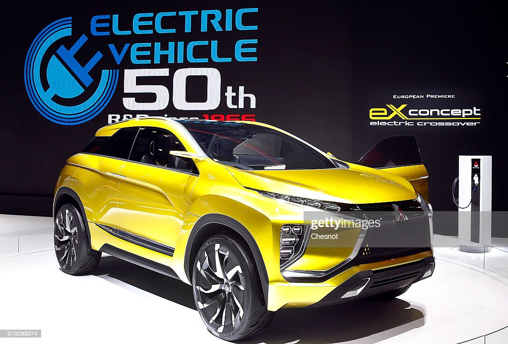 A Mitsubishi eX concept electric crossover is displayed during the second press day of the 86th Geneva International Motor Show on March 2, 2016 in Geneva, Switzerland. The 86th International Motor Show which runs from March 3 to 13, 2016 will present novelties in the car industry.