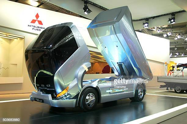 mitsubishi fuso future truck on the motor show - hybrid vehicle stock photos and pictures