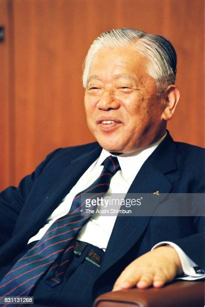 Mitsubishi Heavy Industries President Kentaro Aikawa speaks during the Asahi Shimbun interview at the company headquarters on July 9 1993 in Tokyo...