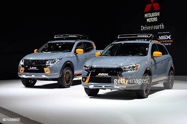 mitsubishi l200 and asx on the motor show - mitsubishi group stock pictures, royalty-free photos & images