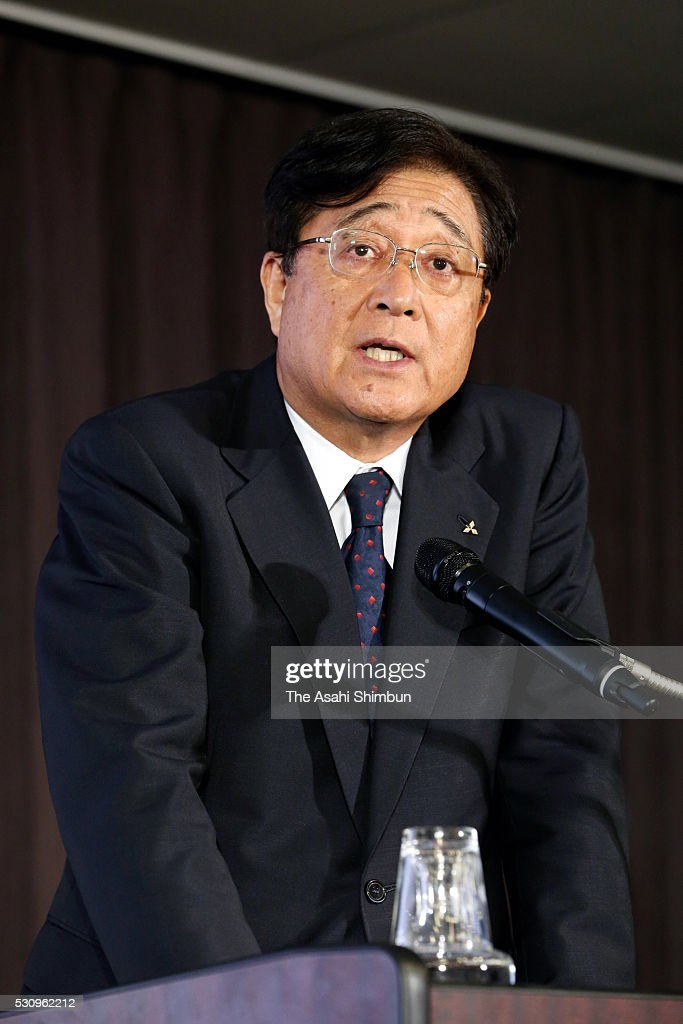 Mitsubishi Motors Chairman Osamu Masuko speaks during a joint press conference at TKP Garden City Yokohama on May 12, 2016 in Yokohama, Kanagawa, Japan. Nissan will take 34 percent stake in troubled Mitsubishi Motors, for 237 billion Japanese yen (approximately 2.2 million U.S. dollars) and become the top shareholder in the automaker, which has been troubled by fuel economy scandal.