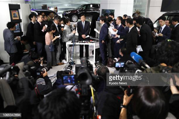 Mitsubishi Motors Corp CEO Osamu Masuko speaks in Tokyo on Nov 26 after the company's board decided to strip Carlos Ghosn who was arrested a week...