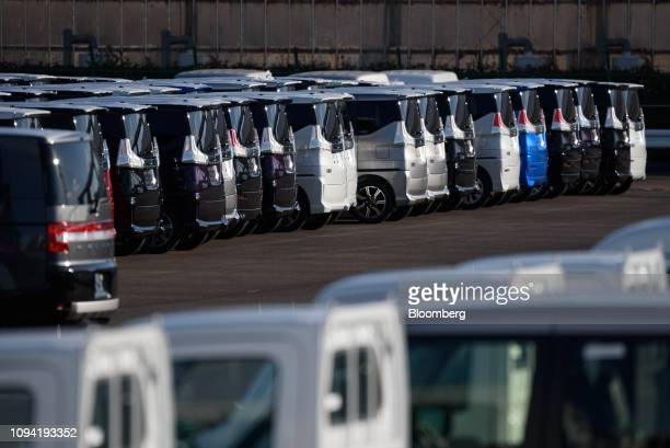Mitsubishi Motors Corp vehicles sit at the Nagoya Port in Nagoya Aichi Prefecture Japan on Friday Feb 1 2019 Auto sales got off to a frosty start to...
