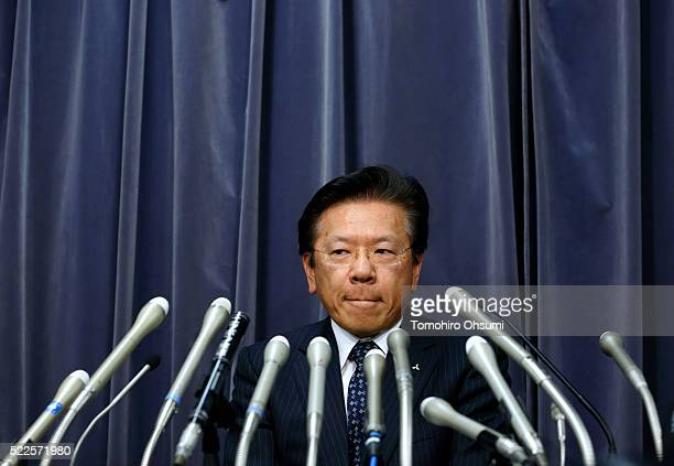 Mitsubishi Motors President Tetsuro Aikawa attends a press conference on April 20 2016 in Tokyo Japan Mitsubishi Motors share plunged more than 15%...