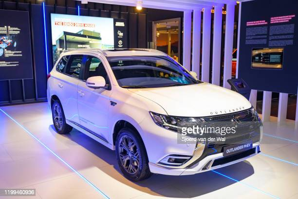 Mitsubishi Outlander PHEV crossover plug-in hybrid SUV on display at Brussels Expo on January 9, 2020 in Brussels, Belgium.