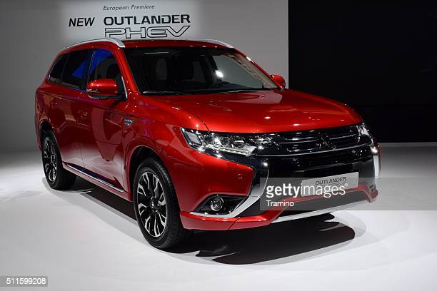 mitsubishi outlander phev on the motor show - mitsubishi group stock pictures, royalty-free photos & images